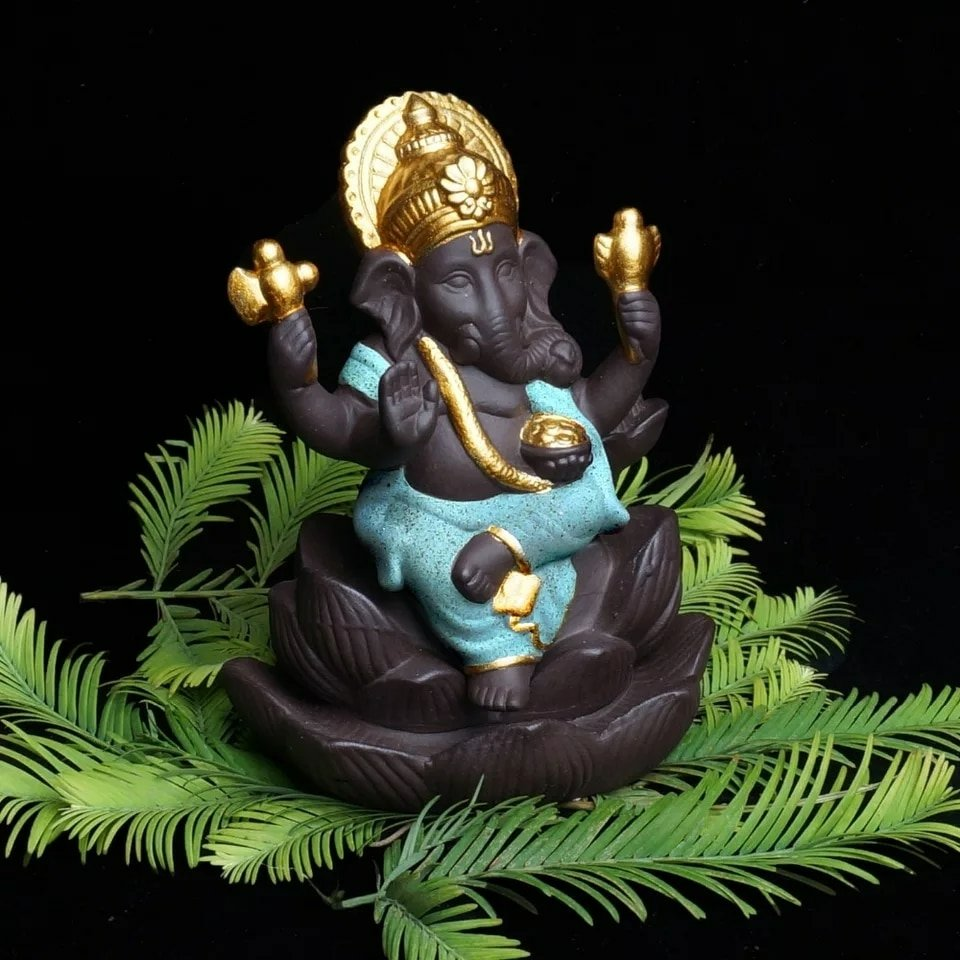 Lotus Ganesha Back-Flow Incense Burner