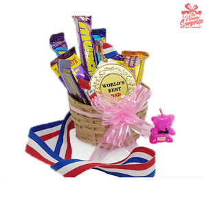 Worlds Best Dad Gold Medal with Chocolate Basket Gift Hamper