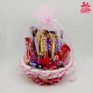 Pink Love Beautiful Chocolate Basket Celebration