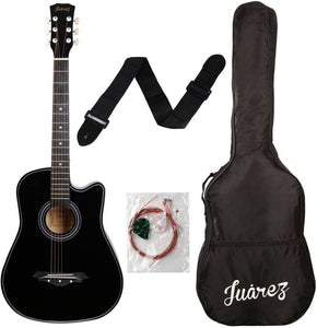 Brand New Acoustic Guitar Glossy Black 38 Inch