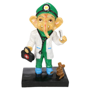 Beautiful Doctor Ganesha Idol with Mouse