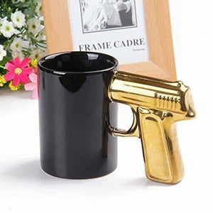 3D Golden Gun Mug Ceramic Pistol Handle Coffee Mug