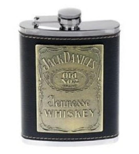 Jack Daniels Stainless Steel Hip Flask Leather Jack