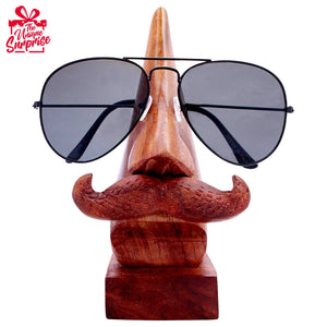 Wooden Sunglass Holder With Moustache