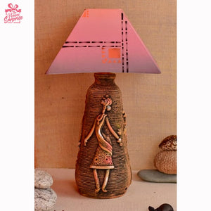 Dancing Tribal Figure Terracotta Lamp