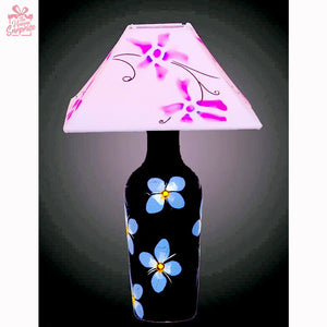 Black Terracotta Lamp with Beautiful Blue Flowers