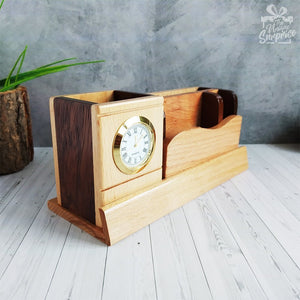 Smart Wooden 4 Compartment Pen Stand with Watch