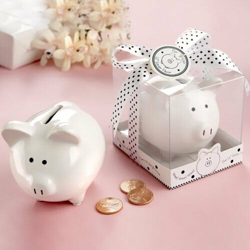 White Ceramic Mini Piggy Bank
