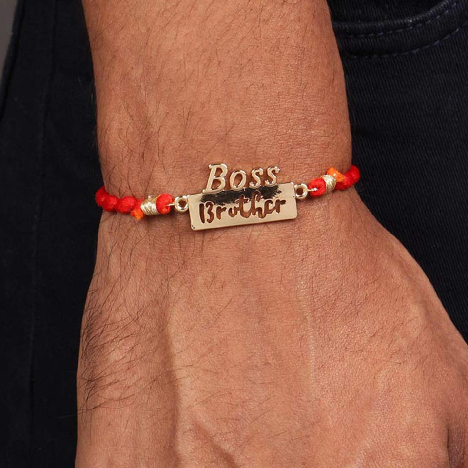 BOSS BROTHER - GOLD Metal Rakhi