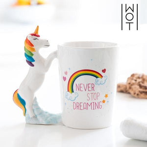 3D Colorful Ceramic Unicorn Coffee Mug