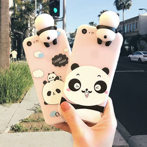 3D Cute Panda Case for iPhone 5 5s SE X For iPhone 6 6s 7 Plus