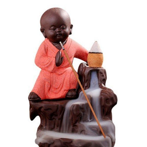 Karate Style Monk Buddha Smoke Back-Flow Cone Decorative Incense Holder