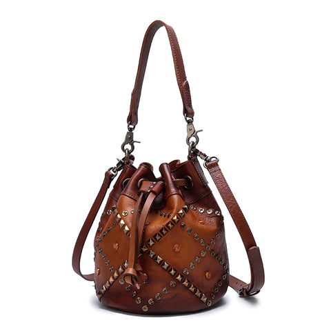 Vintage Leather Purse Bucket Handbags Shoulder Crossbody Bags