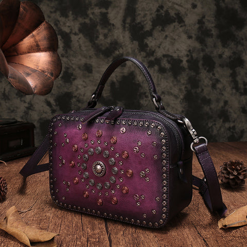 Vintage Leather Purse Clutch Cube Rivet Shoulder Crossbody Bags