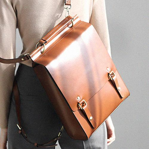"14"" Womens Structured Satchel Backapck Bag"