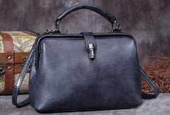 Handmade Dark Blue Leather Handbag Vintage Doctor Bag Shoulder Bag Purse For Women