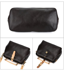 Black Female Leather Small Doctor Bag Purse