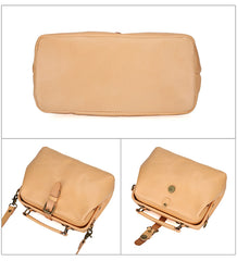 Beige Women's Leather Small Doctor Bag Purse