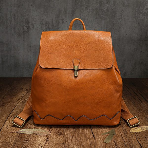 Brown Leather Bucket Backpack Womens