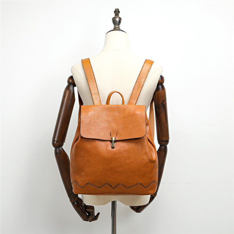 Small Leather Bucket Backpack Womens