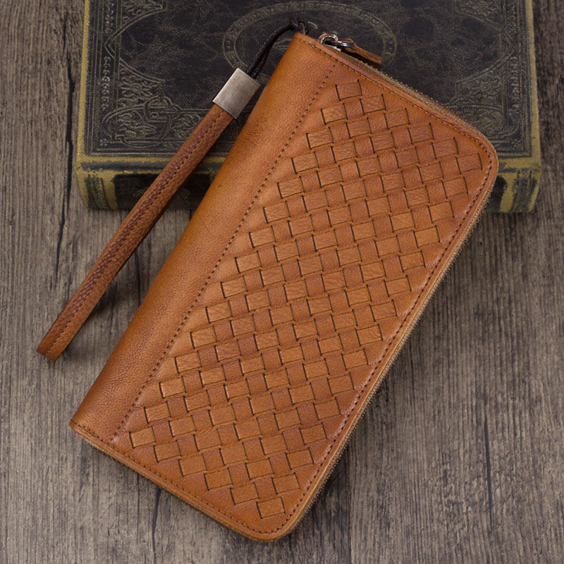 Leather Woven Long Zip Around Card Holder Wallet Purse