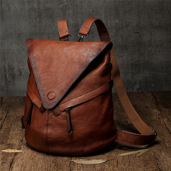 Distressed Leather Convertible Backpack Bag