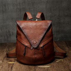 Cool Distressed Leather Backpack Womens Convertible Backpack Purse