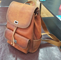 Distressed Leather Drawstring Backpack Bags