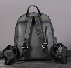 Distressed Leather Zipper Backpack Bags