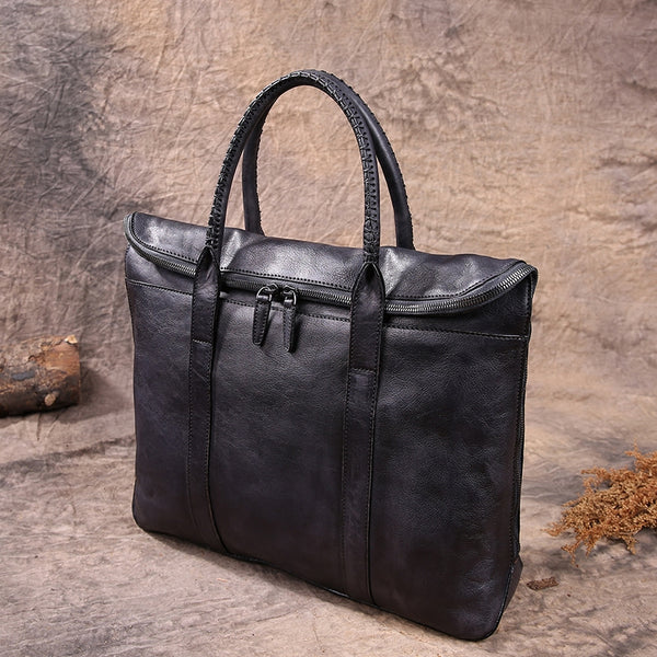 "Women's Distressed Leather 15"" Laptop Briefcase Purse Bag"