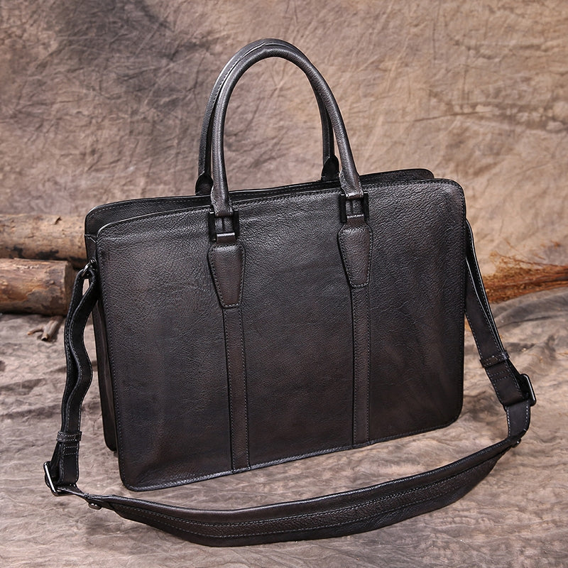 "Mens Distressed Leather 15"" Laptop Structured Briefcase Purse Bag"