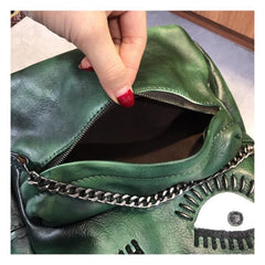 Eyes Leather Zipper Backpack Womens