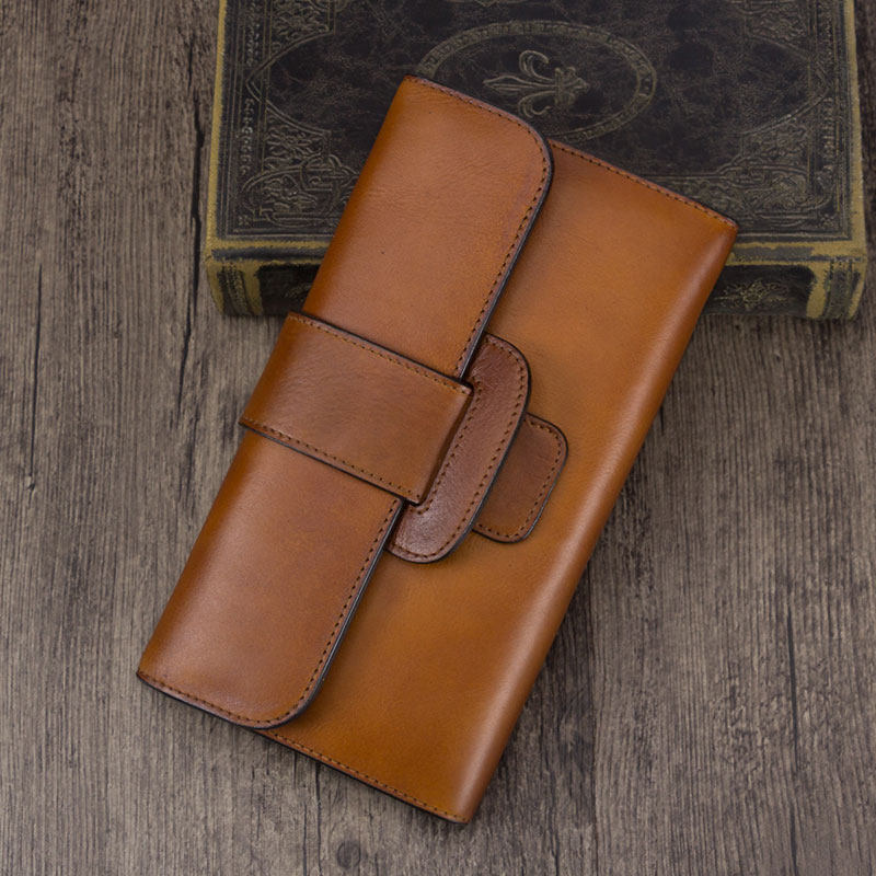 Distressed Leather Flap Long Wallet Card Holder Phone Purse