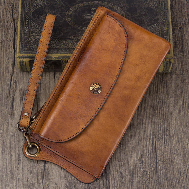 Rustic Leather Zip Long Checkbook Phone Wallet Purse With Strap