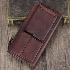 Distressed Leather Long Zipper Pocketbook Wallet Purse