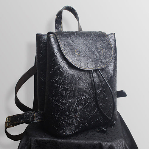 "Flora Tooled Drawstring Bucket Style 10"" Leather Backpack Womens Bag Purse"