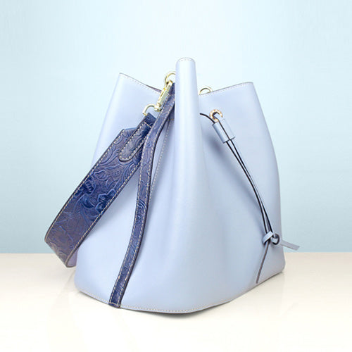 Flora Blue Leather Drawstring Bucket Bag Womens Bucket Bag Purse
