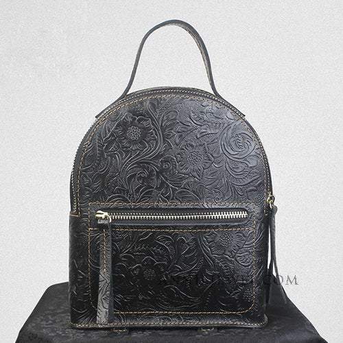 Flora Tooled Small Leather Backpack Womens Cute Trendy Backpacks Purse