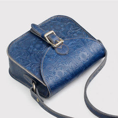 Floral Leather Womens Flap Over Crossbody Saddle Bag Purse