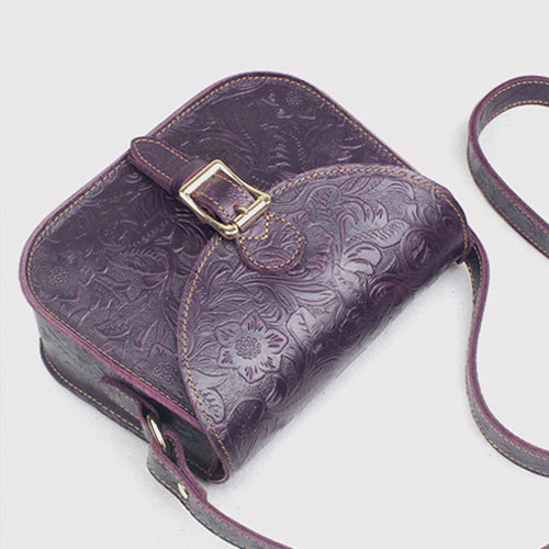 Floral Tooled Leather Womens Flap Over Crossbody Saddle Bag Purse