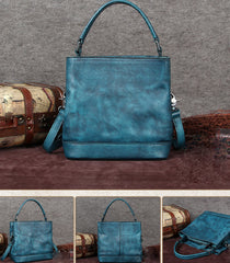 Blue Bucket Bag Distressed Leather Bucket Handbag With Zipper