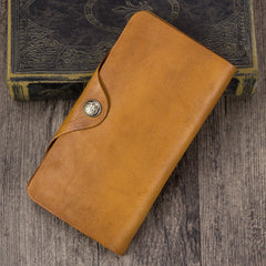 Genuine Leather Long Flat Billfold Checkbook Wallet Purse
