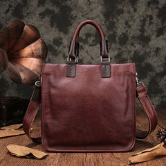 Brown Leather Satchel Purse Square Crossbody Bag