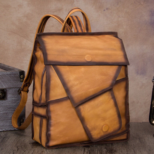 "Geometric Genuine Leather 14"" Backpack Travel Bag Purse"