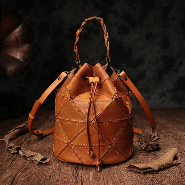 Stitching Leather Drawstring Bucket Bags