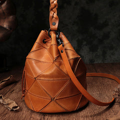 Geometric Genuine Leather Bucket Bags Handle Purses