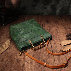 Green Geometry Genuine Leather Small Tote Handbag Purse