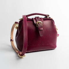 Handmade Womens Dark Red Leather Small doctor Purse Raspberry shoulder doctor bags for women