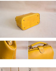 Handmade Womens Yellow Leather Small doctor Handbag shoulder doctor bags for women