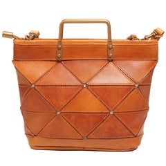 Brown Leather Bucket Bag Handbag Bucket Bag With Zipper